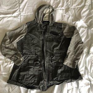 Black denim/ sweatshirt hooded jacket from Torrid